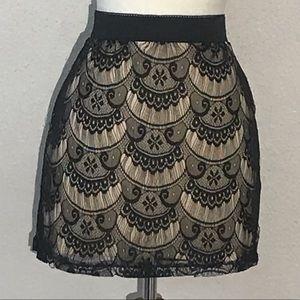 Xhilaration Womens Skirt S Black Cream Lace Layer